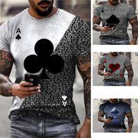 Poker Plum Blossom Pattern Uomo 3D T-shirt grafica grafica Illusione ottica Illusione manica corta Party Top Street Punk Goth Goth Neck Neck Summer