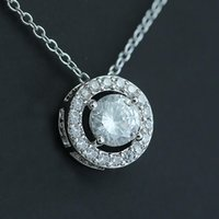 Silver Cubic Zirconia diamond Necklace Crystal ring pendant women necklaces wedding fashion jewelry