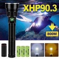 Lanternas tochas 700000lm ip8 poderoso mergulho impermeável XHP90.3 lanterna subaquática lanterna led tocha luz USB recarregável flas
