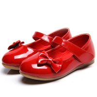 Flat Shoes Top Baby Girls Kids Bow-knot Princess For Wedding Party Dance Student Leather Red Black White 18 24M 3-14T