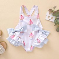 One-Pieces 6M-5Y Born Baby Girl Clothes Swimsuit One-Piece Swimwear Print Suit Beach Summer Sleeveless Bow Bathing E1