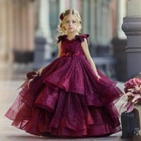 Sparkling Burgundy Flower Girl Dresses For Wedding Lace Sequins Beads 3D Floral Appliqued Little Girls Pageant Party Gowns Princess Wear