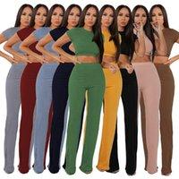 2021 Neue Mode Freizeitanzug Damen Hohe elastische Baumwolle Wide Beinhose Zweiteilige Sätze Gestrickte Trainingsanzug Ribbed Kurzarm Hosenanzug