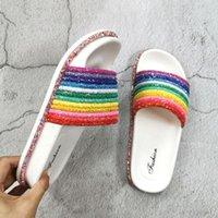Pantofole femminili di cristallo colorato per usura esterna moda donna scarpe estive scatole di spessore di spessore grande taglia 41 arcobaleno femmina scivoli VWH