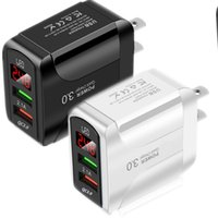 Hızlı Hızlı Şarj AB ABD QC3.0 LED Ekran Duvar Şarjları Güç Adaptörü Fiş iPhone 7 8 Artı 11 Samsung Tablet PC MP3