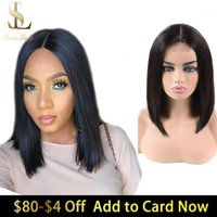 Short Bob Human Hair Lace Closure Wigs For Women 2x6 180 Density Deep Long Parting Brazilian Remy Wig1
