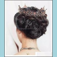 Jewelry Jewelryvintage Luxurious Handmade Lace Veil Hair Tiara Crystal Pearl King Queen Crown Aessories For Wedding Bridal Drop Delivery 202