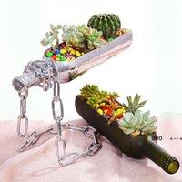 Terrario de vidrio de plantador de botellas de vino creativo para cactus suculento Planta de aire de corte Botellas de vino en la mitad de la maceta Pot Gifts de alcohol FWE9280