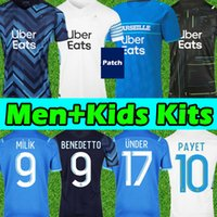 마르세유 축구 유니폼 Olympique DE 21 22 OM 2021 2022 Maillot Foot Cuisance Thauvin Benedetto Kamara Payet Men + Kids Kit Footbal Shirts