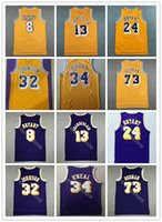 남자 빈티지 농구 Dennis Rodman Jersey 73 Wilt Chamberlain 13 Jerry West 44 Elgin Baylor 22 자주색 노란색 흰색 모두 스티치