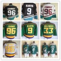 Homens Anaheim 96 Charlie Conway Patos Poderosos Ducks Hóquei Correndo Jerseys Preto Verde Branco Ouro Alternar 1993-94 Away Trikot Camisas