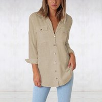 Women Blouse Fashion Female Ladies Shirts Button Clothing V-neck Office Womens Pockets Top Shirt Women's Blouses &