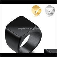 Jewelry Selling Stainless Steel Square Finger Rings For Men Fashion Mens Jewelry Wedding Band Sier Black Gold Kka1936 Drop Delivery 2021 Pxg