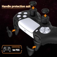 Game Controllers & Joysticks For PS5 Handle Silicone Protective Cover One-piece Molding Rocker Cap Trigger Button Dust-proof Shell With Grai