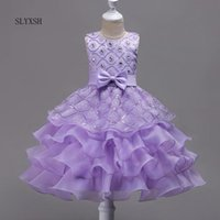 Girl's Dresses Kids Fancy Girl Flower Petals Dress Children Bridesmaid Outfits Elegant For Party Prom Gown Princess Costume