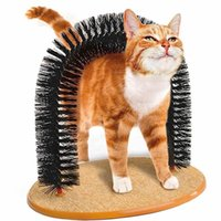 1pc Arch Cat Self Groomer With Round Fleece Base dog Toy Brush scratcher For Pets Scratching Devices