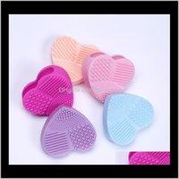 Süngerler, Aplikatörler Pamuk Aessories Sağlık Güzellik Bırak Teslimat 2021 Renkli Kalp Şekli Temiz Makyaj Yıkama Fırçası Silika Eldiven Scrubber