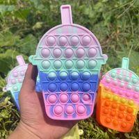 Rainbow Back To School Children's Poppers Bubbles Handbag Decompression Mini Coin Case Bag Wallet Fashion Cartoon Milk Tea Messenger Purse G95QYRW