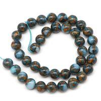 8mm Natural Lake Blue Cloisonne Piedra Redonda Perlas sueltas Para Joyería Que Hace 6 8 10 mm Pick Tamaño 15 pulgadas DIY Necklace 159 W2