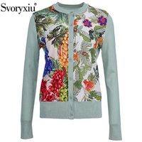 Svoryxiu 2021 весенний летний дизайнер вязание вязание кардиган женские шелковые виноградные печати пэчворк с длинным рукавом тонкий свитер куртки вязаные тройники