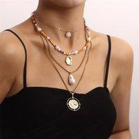 Pendentif Colliers Fashion Weave Fleur Irregular Perle Tôle Tôle de métal Souche Pour Femmes Colories Perles De Pièces Bijoux