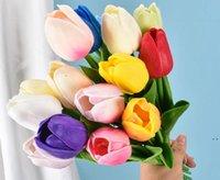 19 ألوان pu الاصطناعي زهرة توليب باقة 34 سم / 13.4 بوصة مصغرة ريال بلمس الزهور HWC7210