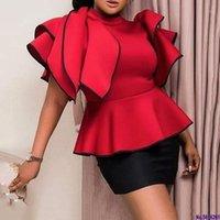 Vermelho Falbaba Mulheres Blusa Tops Verão África Ruffles Manga Cintura Alta Cintura Feminina Camisas Elegante Escritório Senhora Trabalho Tops 2020 Blusas1