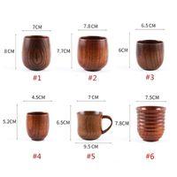 Kreative Holz Cups Holz Tee Weinsaft Milch Wasser Becher Japanischer Stil Runde Bauch Kaffeetasse Meer Senden GGA4582