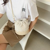 Summer Bag Messenger Small Fashion 2021 Tide Korean Shoulder Single Straw Female New Style Lace Bucket Woven Xmrjr