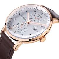 Atmósférico elegante luminoso Cuarzo Relojes para hombre no trabajos Subdials Reloj de vidrio de cristal impermeable Fecha de la esfera simple Hombre Relojes de pulsera 0052G