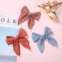 Girls Embroider Lace Large Hair Bow With Clips Hairpins Nylon Hair Bands for Kids Children Hairclips Toddler Barrettes Headwear 4643 Q2