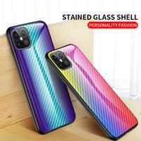 아이폰 13 12 11 Pro Max XR XS 6 7 8 플러스 럭셔리 Shockproof 커버를위한 탄소 섬유 패턴 강화 유리 거울 휴대 전화 케이스