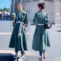 Women's Trench Coats Women Long Windbreaker 2021 Spring And Autumn Clothes Mid-Length Coat XL 4XL British Style Top Has Belt Feminine Jacket