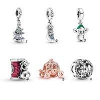 Convient aux bracelets de Pandora 20pcs Crystal Shoepin Pumpkin Pendentif Spacer Beads Perles De Charmes Silver Charms Perle Pour Femmes Collier Européen Collier bijoux