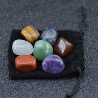 7pcs set Energy 7 Chakra Arts Natural Stone Tiger Eye Amethyst Agate Tumbled Quartz Yoga Energy Bead for Healing Decoration Home decor Velet Bag Packing