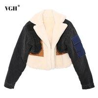 Patchwork Denim para la capa de lana de cordero femenino golpeó el collar de solapa de color de manga larga de manga larga, abrigos informales de mujer caliente, moda 210531