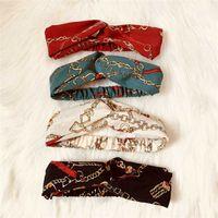 Headband For Women Fashion Elastic Chain Printed Chiffon Hair Bands Girl Turban Head Wraps Gifts New Designer Cross