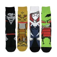 Men's Socks 4 Pairs Of Cartoon Fashion Sports Comfortable Skateboard Street Hip Hop Funny Happy Casual Cotton