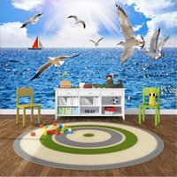 Wallpapers Custom Size 3d Po Wallpaper Mural Living Room Mediterranean Sailing Seagull Picture TV Backdrop For Wall