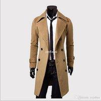 Мужская длинная кафе-карещ мужская шерстяная шерстяная шерстяная шерстяная воротник с двубортными мужчинами траншея пальто черного коричневого серого 3 цветов.