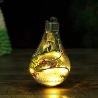 LED Transparante Lichtgevende Bal Kerst Ornamenten Creatieve Simulatie Gloeilamp Kerstboom Hanger Plastic Bal W-00829