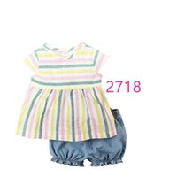 Clothing Sets Baby Girls Dress Clothes Suit Stripe Born Jumpsuits Girl's Blouse Pants Children T-Shirt Panties Toddler Outfit 0-2Year