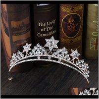 Klipler Barrettes Takı Damla Teslimat 2021 Barok Prenses Taç Rhinestone Tiara Gelin Düğün Yıldız Headdress El Yapımı Kristal Saç ACCE