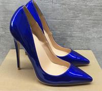 Bombas de atacado mulheres de saltos altos sapatos pontiagudos dedos rosa branco listrado festa de casamento couro de patente 8cm 10 cm 12cm fundo vermelho grande tamanho Euro45