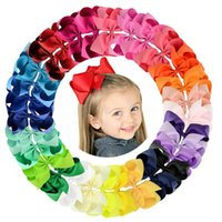 Hair Accessories 6 Inch 30Pcs lot Colorful Big Kids Girls Solid Ribbon Bow Clips With Large Hairpins Boutique Hairclips