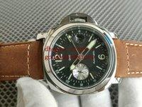 남성 제한 44mm GMT 손목 시계 브라운 암소 가죽 PAM88 자동 무브먼트 품질 시계 PAM 88 밴드 전원 절약 시계