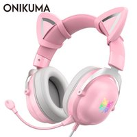 ONIKUMA PS4 Cat Ear Headset casque Wired Stereo PC Gaming Headphones with Mic & LED Light for PS4 Xbox One Controller Laptop