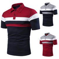 Homens polo simples manga curta tops camisa contraste cor pólos meninos vestuário de negócios verão rua casual moda