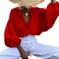 Camisas de las blusas de las mujeres Imcute Fashion Spring Elegant Lantern Sleeve Mujer Blusa Blusa Botones Casual Flojo Solido Fiesta Tops Largos Blusas 2021