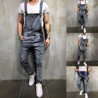 Erkek Genel Streetwear Rahat Tulum Kot Yıkama Kırık Cep Pantolon Askı Pantolon Erkekler Estetik Pantalon Homme